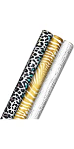 Leopard print wrapping paper, zebra print gold gift wrap, silver alligator roll wrap