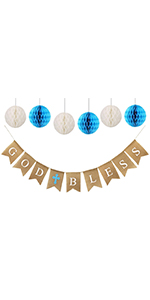 baptism decorations for boys with god bless banner and paper honeycombs