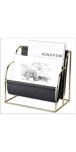 KINGFOM Plated Metal Wire and Premium Faux Leather Magazine Holder Rack