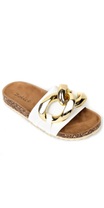 Women's Gold Chain Slippers