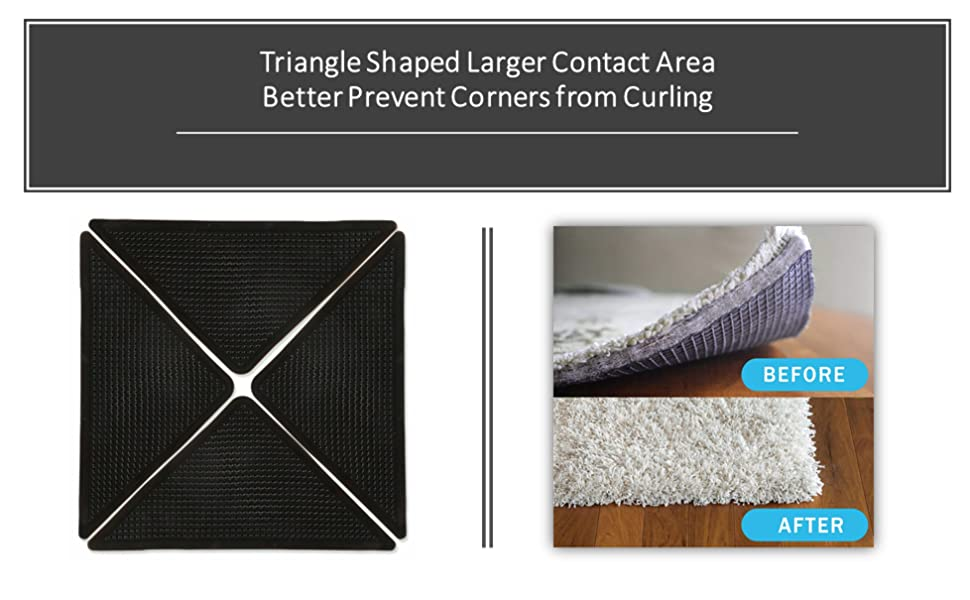 Triangle Shaped Carpet Grippers to Prevent Corners from Curling