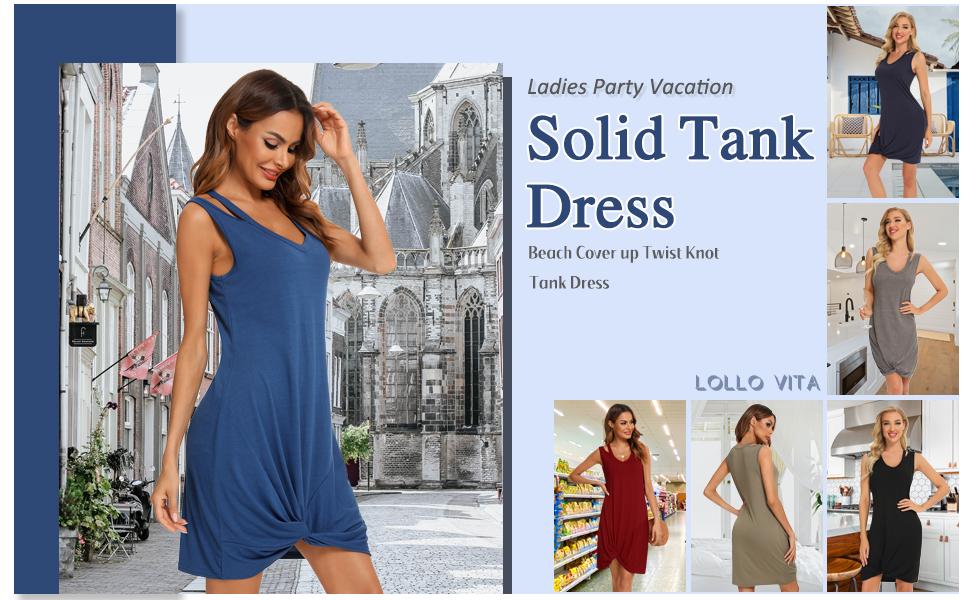 LOLLO VITA Womens Solid Color Twist Knot Midi T-Shirt Tunic Dress