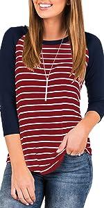 Women 3/4 Sleeve Raglan Striped T Shirt