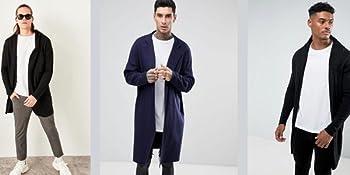 coofandy mens long sleeve cadigan fashion black