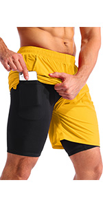 mens 2 in 1 shorts 7 inch