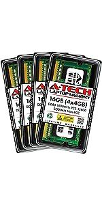 A-Tech 16GB Kit 4x4GB DDR3 1600MHz PC3-12800 SODIMM