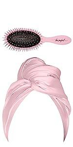 Microfiber Hair Towel with Wet Brush - Pink