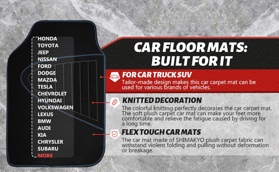 SHIMAKYO CAR FLOOR MATS FOR CAR TURCK SUV, KINTTED DECORATION AND FLEX TOUGH CAR MATS