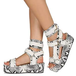 snakeskin platform sandals