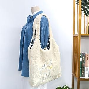 fuzzy shoulder bag
