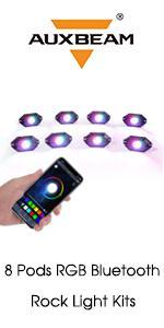 Auxbeam Rock Lights 8 Pods RGB Bluetooth Car Underglow Kit