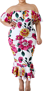 Women Plus Size Off Shoulder Long Formal Dress Floral Evening Gown