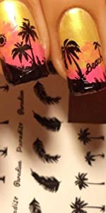 palm tree stickers for nails, palm tree sticker nail,palm tree nail stickers,nail decals palm tree