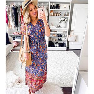 PRETTYGARDEN Womens Boho Maxi Dresses V-neck Short Sleeve Tropical