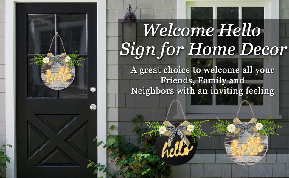 Welcome Sign for Front Door Decor