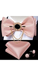 Blash Pink Self Bow Tie Set with Chain Brooch
