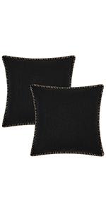 black linen pillow covers
