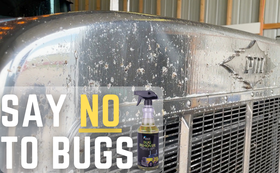 say no to bugs - front of big rig covered in bug guts and soap