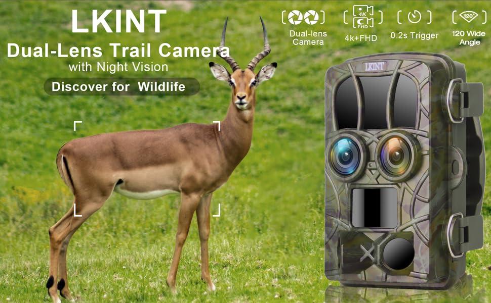 20MP 4K Night Vision Dual-Lens Game Hunting Camera
