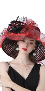 Women's Organza Church Kentucky Derby Fascinator Bridal Tea Party Wedding Hat  Red