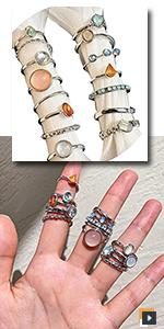 Vintage Crystal Stackable Rings