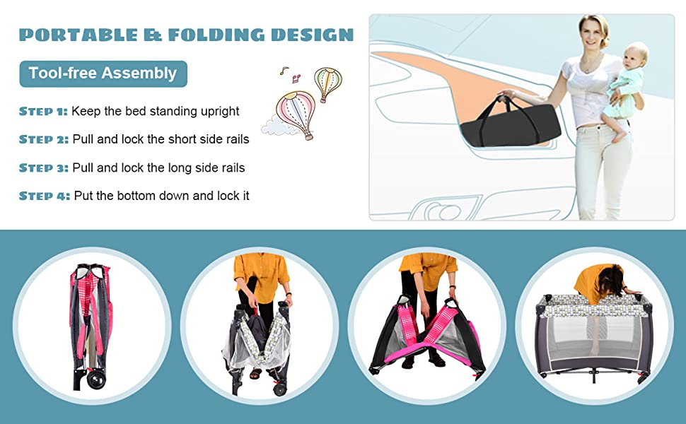 foldable amp; portable play yard for baby