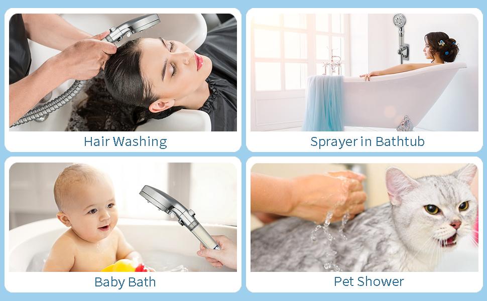 Hair washing baby bath and shower