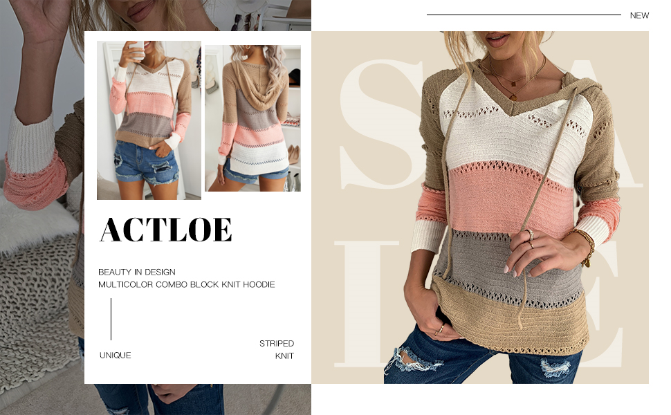 Actloe Color Block Knit Hoodies for Women
