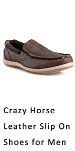 Crazy horse leather slip on shoes for men