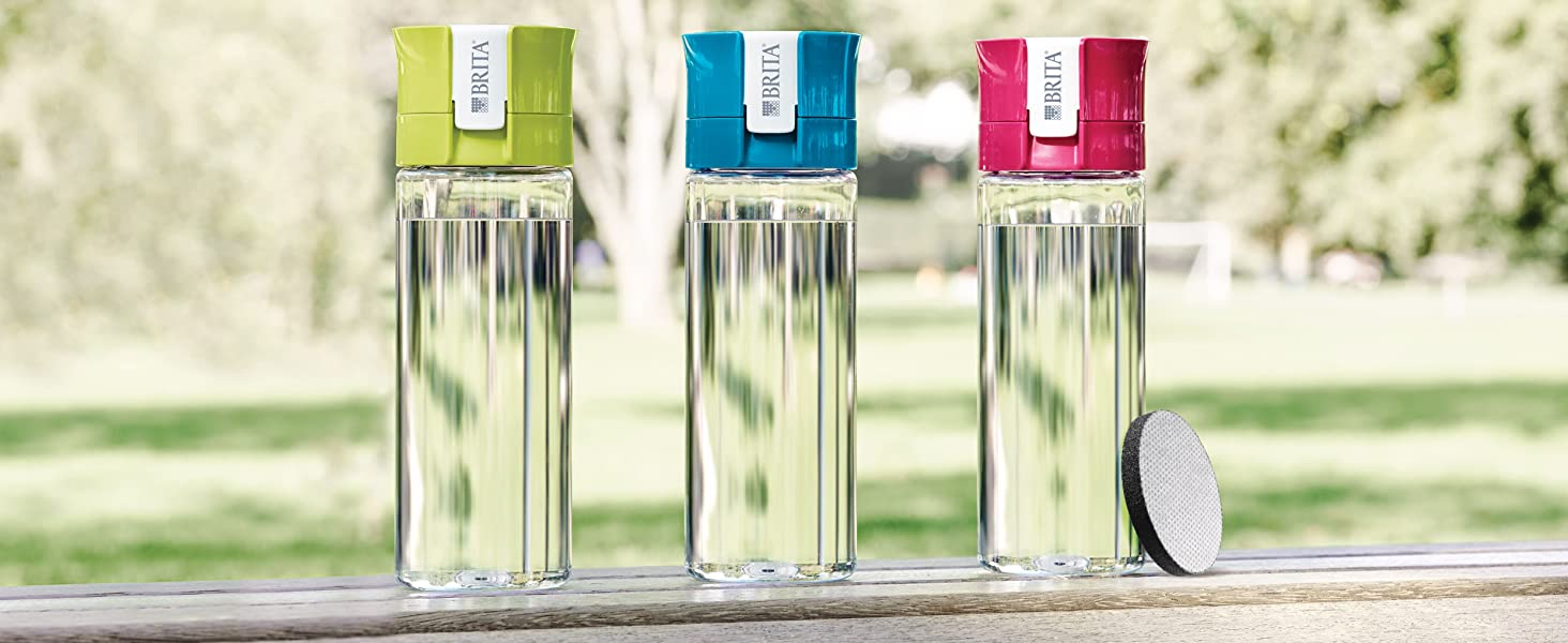 gourde filtrante transparente brita verte rose bleue