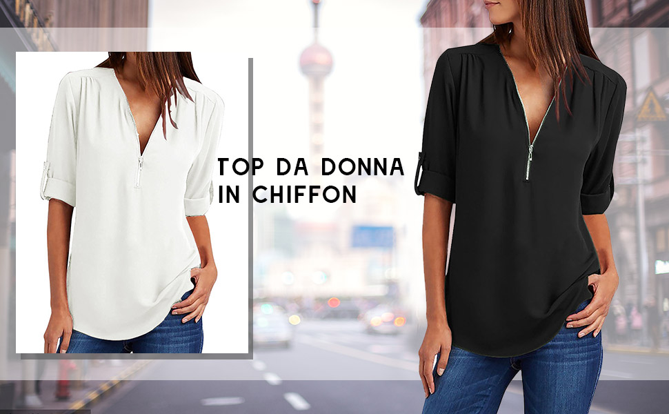 Bluse e Camicie Felpa Donna Magliette Manica Lunga e Zip Eleganti Casual T-Shirt