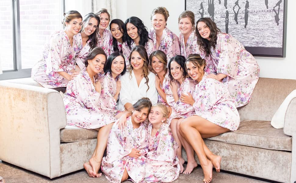floral bridesmaid robes for wedding party robes bridal robes floral satin robes summer robes floral