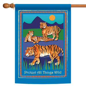 House flag with protect the tigers design