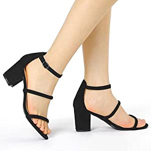 Allegra K Womenamp;#39;s Strappy Ankle Strap Chunky Heels Sandals