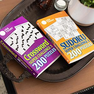 Photo of puzzle books on table