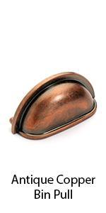 P-2769-AC Dynasty Hardware Antique Copper Bin Pull
