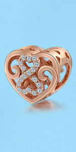 heart charm rose gold