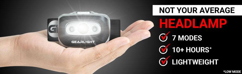 Not Your Average Headlamp 7 Modes 10+ Hours on Low Lightweight
