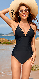 V Neck Halter One Piece Swimsuits for Women Tummy Control Ruched Sexy Bathing Suits Monokini…