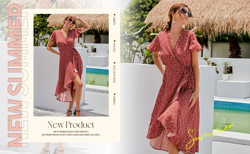 Imysty Womens Boho Floral Printed V Neck Wrap Dresses