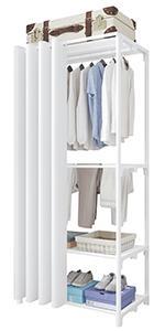 Porte-vêtements à 4 niveaux Blanc