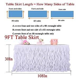 9ft table skirt