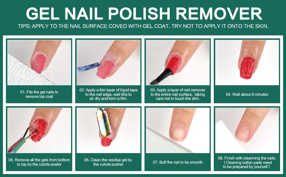 Morovan Gel Nail Polish Remover Kit Quick Easy Soak-Off Gel Polish Liquid Latex Peel Off