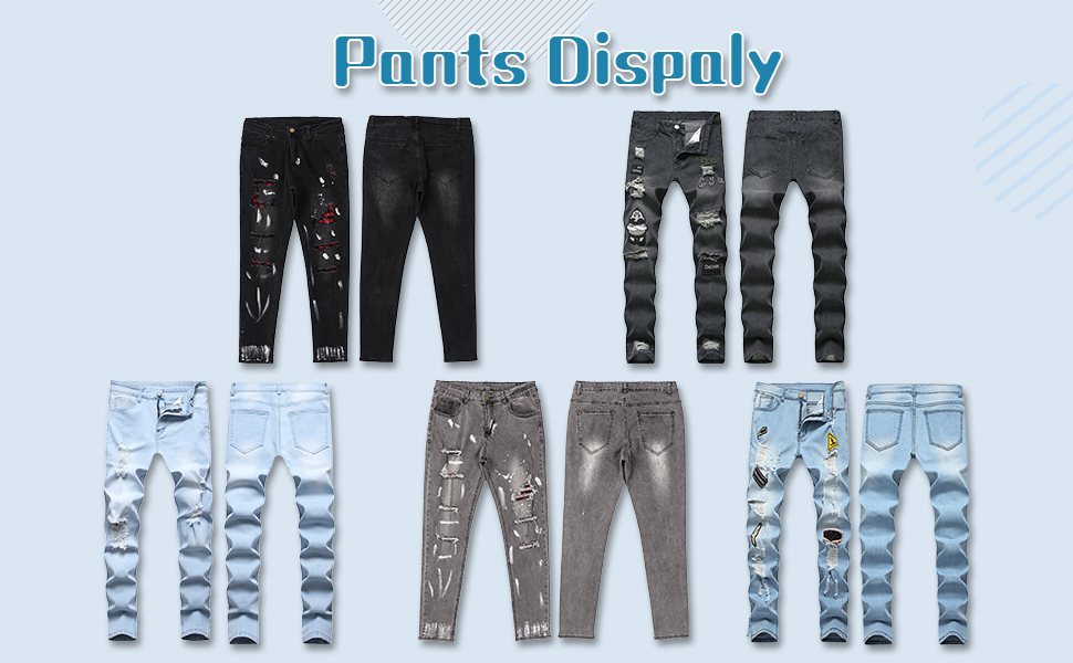 Men's Ripped Straight Holes Hip Hop Biker Stretchy Jeans