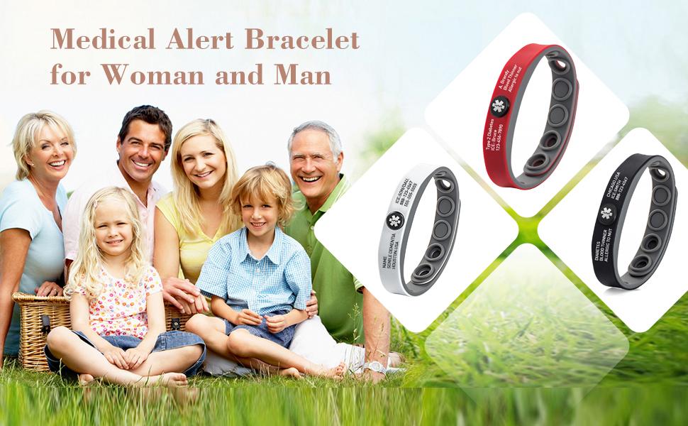 Free Engraving Silicone Emergency Medical Bracelets