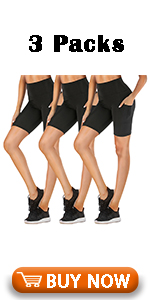 """High Waisted Biker Shorts with Pockets for Women-8"""" Spandex Stretchy Yoga Athletic Workout Shorts"""