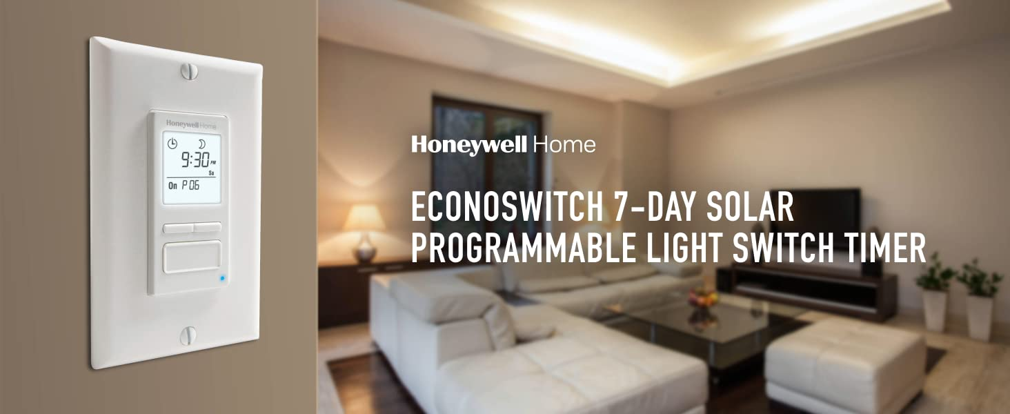 ECONOSwitch 7-Day Solar Programmable Light Switch Timer outside the living room