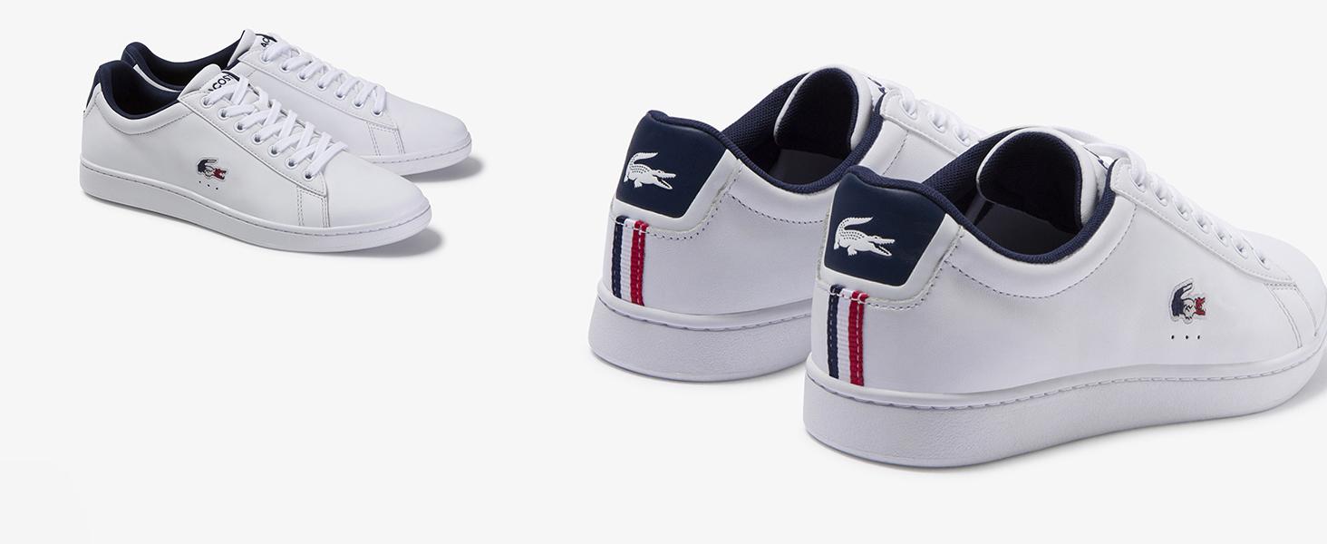 Weißer Sneaker mit Krokodil in Blau, Weiß und Rot