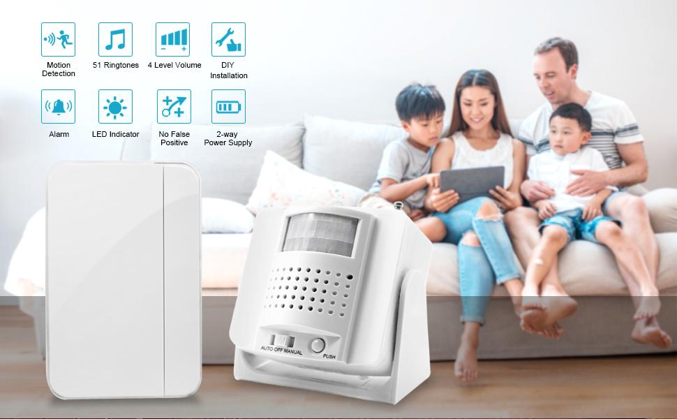ChunHee  Infrared Motion Sensor Detector Caregiver Pager Elderly Bussiness Entry Alert Alarm System