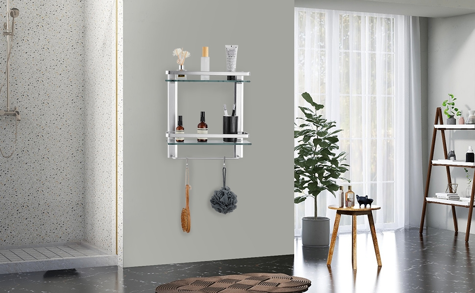 Tempered Glass Bathroom Shelf, 2 Tier Shelf with Towel bar, Silver